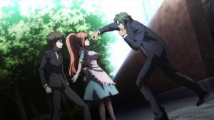 Chisa protects Hajime from Juzo's punch