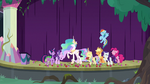 Main cast and Celestia laughing together S8E7