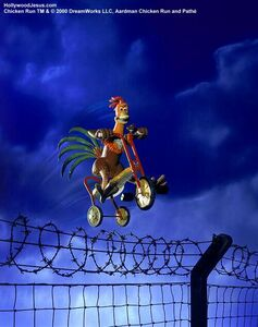 Rocky rides his trike over the fence to save Ginger