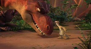 Sid and Momma arguing over how to raise the baby dinos