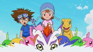 Taichi, Biyomon, Sora and Agumon are resucsed by Gomamon