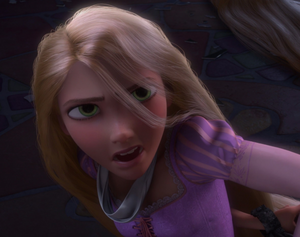 Rapunzel facing Mother Gothel