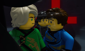 Lloyd, Cole and Jay speaking with Garmadon