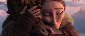Valka hugging Hiccup