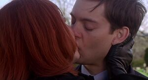 Mary Jane and Peter kiss