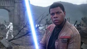 Finn faces a Stormtrooper