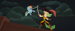 Rainbow Dash and Celaeno clash swords MLPTM