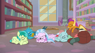 Young Six sleep on the library floor S8E22
