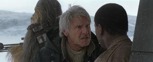 Chewie Han and Finn on Starkiller Base