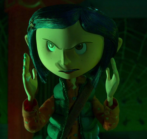 Coraline facing the Other Mother