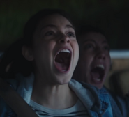 Hannah screaming in terror at the sight of the mantis