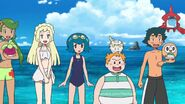 Ash, Lana, Mallow, Lillie and Sophocles in Beach