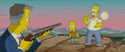 Homer & Bart held at gunpoint by Russ Cargill