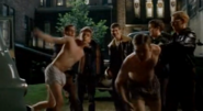 Flat Critters in (Strike! - All I Wanna Do - The Hairy Bird) releasing Todd Winslow (Robin Dunne) wearing dark colored boxers and Schumacher (Paul Nolan) wearing light colored boxers