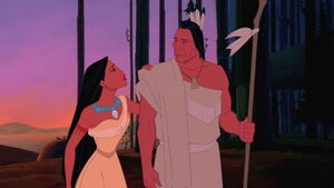 Pocahontas trying to convince her father not to fight the English Settlers