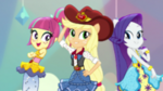 Sour Sweet, AJ, and Rarity pose together EGS1