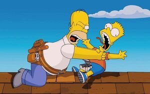 Whyyoulittle Homer strangling Bart