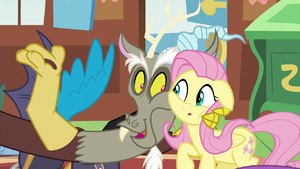 Discord holding Fluttershy close S6E17