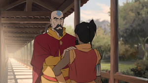 Tenzin reassuring Korra