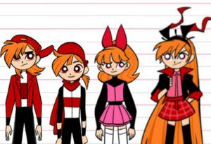 Brick the Rowdyruff Boy, Blake the Rowdyright Boy, Blossom the Powerpuff Girl, and Berserk the Powerpunk Girl
