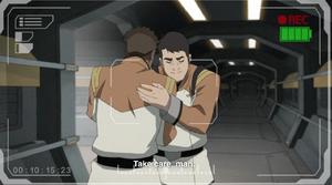 Lieutenant Kinkade hug Seok Jin