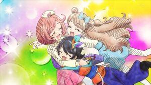 Naru Suzu and Maria hug each other