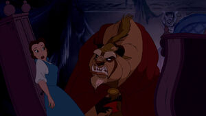 Belle getting yelled to get out by the enraged beast