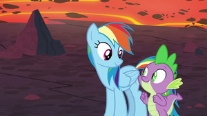 Rainbow Dash and Spike looking hopeful S7E25