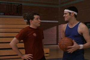 Steven and Chip at the basketball gym