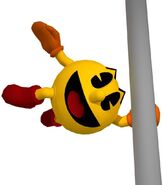 Pac-Man Grabbing Onto a Pole (Pac-Man World 3 Official Artwork)