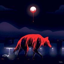 Super Wolf Blood Moon by 00aquila00