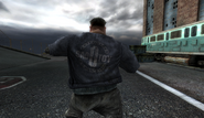 SADOTOY inscription on Drunkard Hell Biker jacket