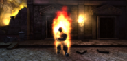 Fire spectre with visible body with closed arms