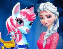 Elsa-cuida-el-pony
