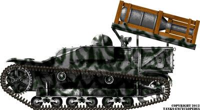 Selbstfahrlafette für 28-32cm Wurfrahmen auf Infanterie Schlepper UE(f) Late