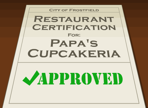 File:Frostfield Restaurant Certification for Papa's Cupcakeria.png