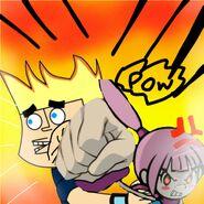 Kat (WarioWare) Punching Johnny Test