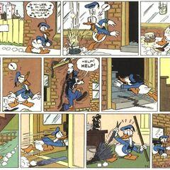Inizia l'era dei fumetti di Donald duck nei fumetti dove l'artista maestro Al taliaffero fa acquistare a Donald duck la sua forma normale con il becco rimpicciolito e una dimensione normale come quella di Mickey mouse questa immagine e' la prima striscia a fumetti con Donald con un'aspetto normale
