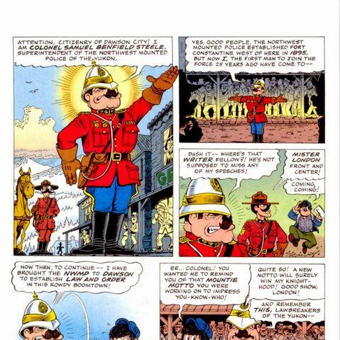 La vignetta dell'arrivo di Samuel Steele a Dawson