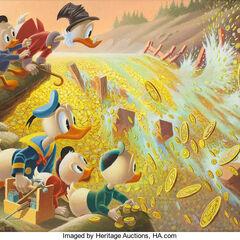 Dipinto ad olio di Carl Barks ispirato alla distruzione della diga