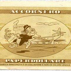 Retro della banconota da 20$ di Accornero.