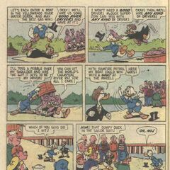 Seconda tavola della storia del debutto di Rockerduck, disegnata da Carl Barks.