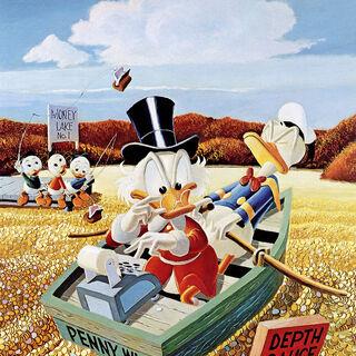 Dipinto ad olio realizzato da Carl Barks usando come riferimento la storia