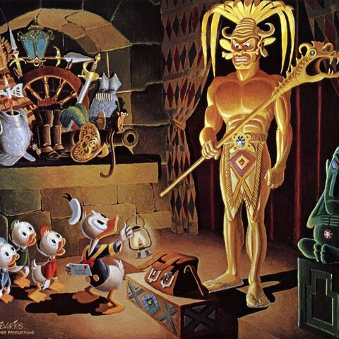 Dipinto a olio di Carl Barks per la sua storia.