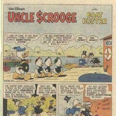 La prima tavola d' esordio di Rockerduck, disegnata da Carl Barks.