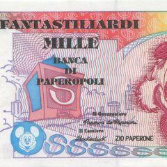 Banconota immaginaria raffigurante Paperon de' Paperoni.