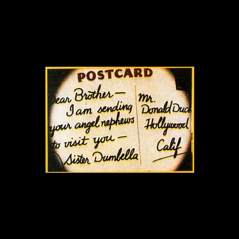 Cartolina a Paperina da Dumbella nel cortometraggio
