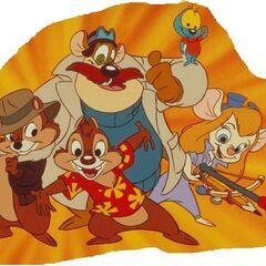 Cip & Ciop in compagnia degli altri personaggi e membri degli Agenti Speciali della serie animata.