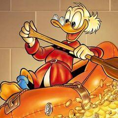 Paperone naviga su un canotto sui soldi