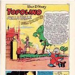 Dopo il successo in america Paperone fa il suo esordio in italia come naratore nella storia Topolino nella valle dell'incanto nel topolino libretto n44 del 10 giugno 1952 disegnato da Rino anzi